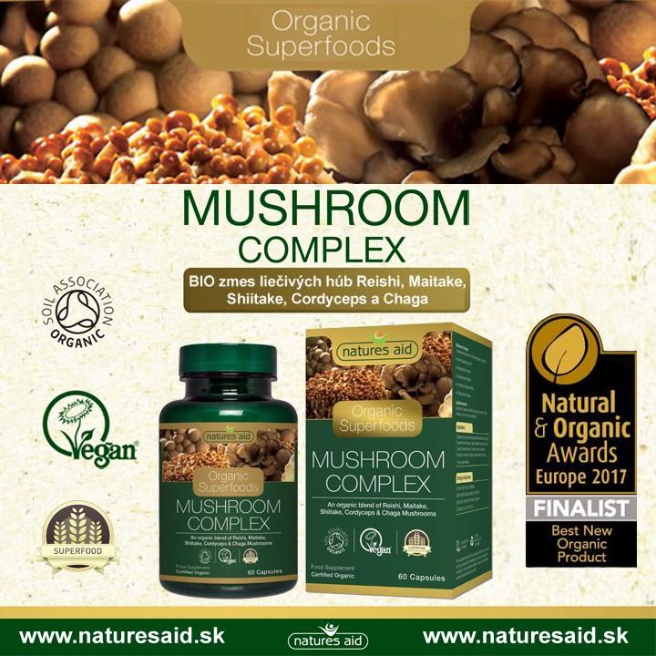 Mushroom Complex bio liečivé huby - 5 druhov overených húb s pozitívnym účikom na náš organizmus
